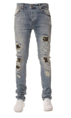 iDenimMen Designer Blue Camouflage Rip Detail Distressed Denim Slim Tapered Fit
